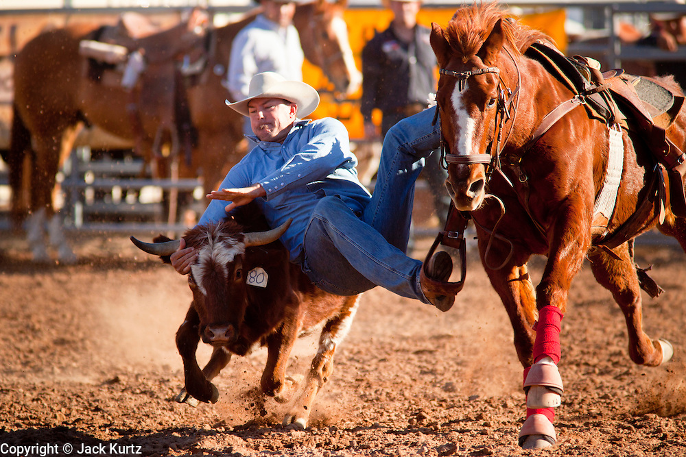26 NOVEMBER 2011 - CHANDLER, AZ:  CODY GLOVER competes in the steer wrestling at the Grand Canyon Pro Rodeo Association (GCPRA) Finals at Rawhide Western Town in west Chandler, AZ, about 20 miles from Phoenix Saturday. The GCPRA Finals is the last rodeo of the GCPRA season. The GCPRA is a professional rodeo association based in Arizona.       PHOTO BY JACK KURTZ