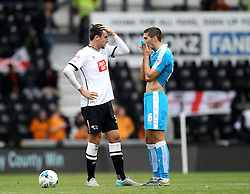 George Thorne of Derby County and Conor Coady of Wolverhampton Wanderers chat at the end of the game - Mandatory byline: Robbie Stephenson/JMP - 07966 386802 - 18/10/2015 - FOOTBALL - iPro Stadium - Derby, England - Derby County v Wolverhampton Wanderers - Sky Bet Championship