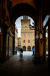 Looking towards the Palazzo d'Accursio in the Piazza Maggiore, Bologna, Italy<br /> <br /> (c) Andrew Wilson | Edinburgh Elite media