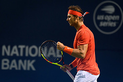 August 10, 2018 - Toronto, ON, U.S. - TORONTO, ON - AUGUST 10: Rafael Nadal (ESP) celebrates after winning a point during his Quarter-Finals match of the Rogers Cup tennis tournament on August 10, 2018, at Aviva Centre in Toronto, ON, Canada. (Photograph by Julian Avram/Icon Sportswire) (Credit Image: © Julian Avram/Icon SMI via ZUMA Press)