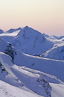Fissile Mountain, Whistler BC, winter rises up behind Blackcomb Mountain.