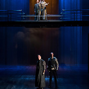 March 24, 2016 - New York, NY : At top from left, Sam Marks (as Aumerle) and David Tennant (as Richard II) perform during a photo call/dress rehearsal for The Royal Shakespeare Company's (RSC) Richard II at the Brooklyn Academy of Music's (BAM) Harvey Theater in Brooklyn on Thursday afternoon. Below them are Sean Chapman (as Northumberland), left, and Matthew Needham (as Percy). The production, which is being directed by RSC Artistic Director Gregory Doran as part of Shakespeare's Great Cycle of Kings, marks the 400th anniversary of William Shakespeare's death.  CREDIT: Karsten Moran for The New York Times