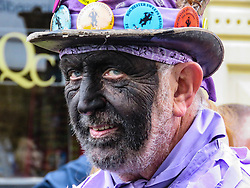 © Licensed to London News Pictures.01/05/2017. Rochester, UK. A man takes part in the May Day Sweeps Festival in Rochester Town Centre. The festival celebrates the traditional holiday chimney sweeps enjoyed on 1 May each year.<br /> Locally, they used to mark the occasion by staging a procession through the streets. Photo credit:Graham Long/LNP