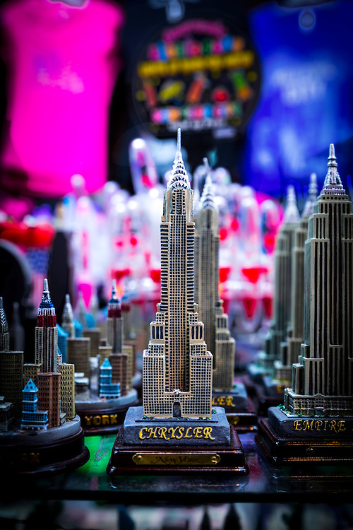 Statuettes of the Chrysler Building and the Empire State Building in a souvenir shop in New York City