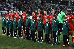 Players of Czech Republic listening to the national anthem at the 8th day qualification game of 2010 FIFA WORLD CUP SOUTH AFRICA in Group 3 between Slovenia and Czech Republic at Stadion Ljudski vrt, on March 28, 2008, in Maribor, Slovenia. Slovenia vs Czech Republic 0 : 0. (Photo by Vid Ponikvar / Sportida)
