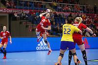 Frederikshavn, Danmark:<br /> IHF VM H&aring;ndbold for kvinder Danmark 2015 <br /> Rumanien - Rusland<br /> <br /> Fotograf: Morten Olsen<br /> <br /> Frederikshavn, Denmark:<br /> IHF Women&acute;s Handball World Championship Denmark 2015<br /> Romania - Russia<br /> <br /> Photographer: Morten Olsen