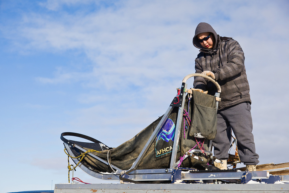 Musher Michael Williams, Jr. prepares his sled atop a vehicle before the restart of the 40th Iditarod Trail Sled Dog Race on Willow Lake in Willow in Southcentral Alaska. Afternoon. Winter.