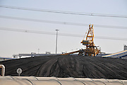 Israel, Hadera, The Orot Rabin coal operated power plant. Coal storage site