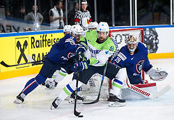 Mitja Robar of Slovenia vs Jonathan Janil of France and Cristobal Huet of France during the 2017 IIHF Men's World Championship group B Ice hockey match between National Teams of France and Slovenia, on May 15, 2017 in AccorHotels Arena in Paris, France. Photo by Vid Ponikvar / Sportida