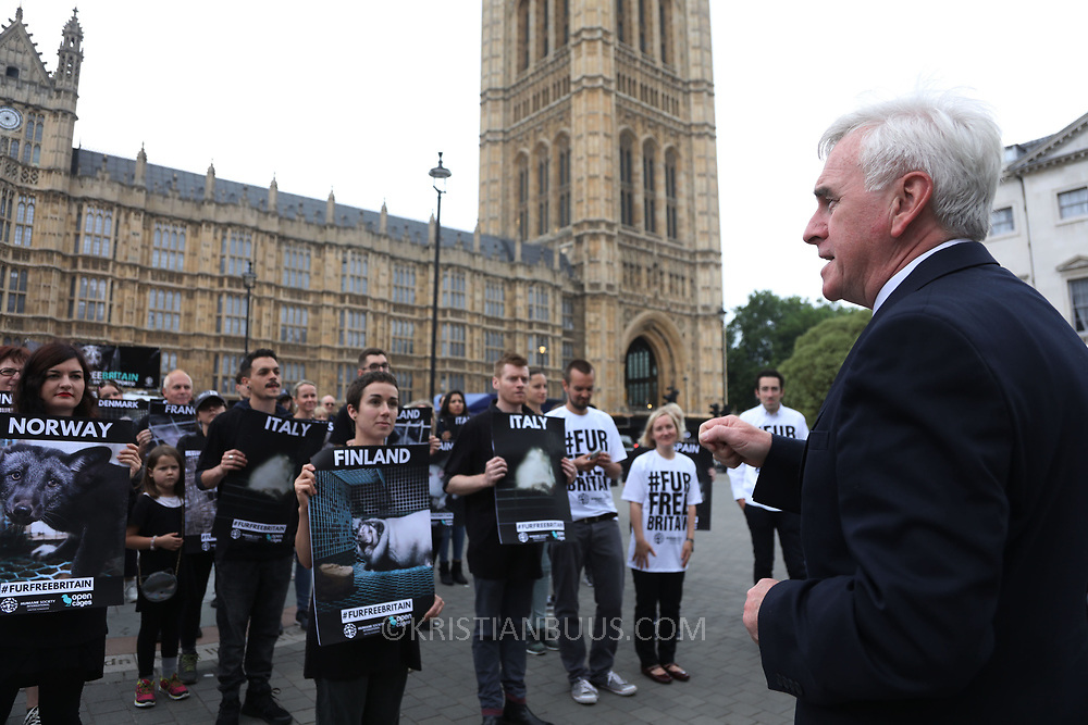 John McDonnell, SHadow Chancellor speaks in support of the ban and the protest. In connection with a debate on banning fur import to Britain in Parliament Open Cage and Humane Society International held a demonstration outside Parliament to draw attention to the continued use of fur in Britain inspite of fur production is banned in Britain. The campaigners want all sale of fur banned.