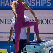Camelia Alina Potec of Romania wearing a pink swimsuit before the start of the Women's 400m freestyle heats at the World Swimming Championships in Rome on Sunday, July 26, 2009. Photo Tim Clayton.