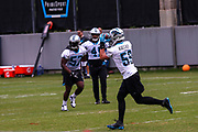 Carolina Panthers linebacker Luke Kuechly(59) catches a pass during minicamp at Bank of America Stadium, Thursday, June 13, 2019, in Charlotte, NC. (Brian Villanueva/Image of Sport)