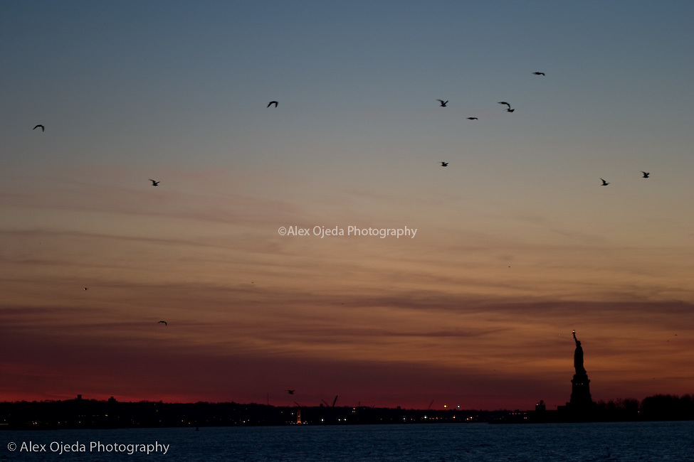 Sunset from the River Side with the Statue of Liberty on the background, New York
