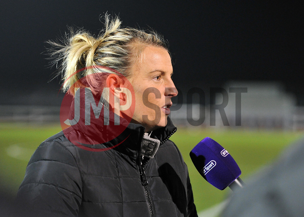 Tanya Oxtoby manager of Bristol City Women chats to the media after defeating Liverpool FC Women at Stoke Gifford Stadium - Mandatory by-line: Paul Knight/JMP - 17/11/2018 - FOOTBALL - Stoke Gifford Stadium - Bristol, England - Bristol City Women v Liverpool Women - FA Women's Super League 1