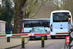 A bus carrying what are believed to the Russian diplomats and their families arrives as 23 Russian diplomats and their families prepare to leave the Russian embassy in London following their expulsion in the wake of the Salisbury poisoning case which has former spy Sergei Skripal and his daughter who remain in hospital in critical condition. . London, March 20 2018.