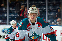 KELOWNA, BC - JANUARY 26: Kaedan Korczak #6 of the Kelowna Rockets warms up against the Vancouver Giants  at Prospera Place on January 26, 2019 in Kelowna, Canada. (Photo by Marissa Baecker/Getty Images)