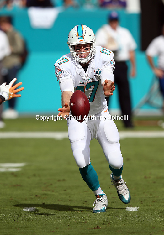 Miami Dolphins quarterback Ryan Tannehill (17) pitches the ball out on a running play during the 2015 week 13 regular season NFL football game against the Baltimore Ravens on Sunday, Dec. 6, 2015 in Miami Gardens, Fla. The Dolphins won the game 15-13. (©Paul Anthony Spinelli)