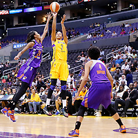 24 August 2014: Los Angeles Sparks forward/center Candace Parker (3) takes a jump shot over Phoenix Mercury guard/forward DeWanna Bonner (24) during the Phoenix Mercury 93-68 victory over the Los Angeles Sparks, in a Conference Semi-Finals at the Staples Center, Los Angeles, California, USA.
