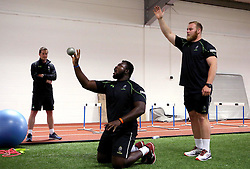 Mike Daniels of Worcester Warriors and Derrick Appiah of Worcester Warriors train together - Mandatory by-line: Robbie Stephenson/JMP - 07/06/2016 - RUGBY - Worcester Warriors - Pre-season training session