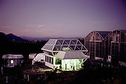 Biosphere 2 Project test module building seen at dawn. The Biosphere was a privately funded experiment, designed to investigate the way in which humans interact with a small self-sufficient ecological environment, and to look at possibilities for future planetary colonization. 1989