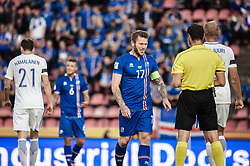 September 2, 2017 - Tampere, Finland - Iceland's Aron Gunnarsson is yellow carded during the FIFA World Cup 2018 Group I football qualification match between Finland and Iceland in Tampere, Finland, on September 2, 2017. (Credit Image: © Antti Yrjonen/NurPhoto via ZUMA Press)