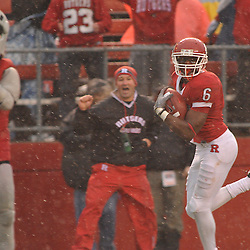 Dec 5, 2009; Piscataway, NJ, USA; Rutgers wide receiver Mohamed Sanu (6) runs for a touchdown reception during second half NCAA Big East college football action in West Virginia's 24-21 victory over Rutgers at Rutgers Stadium.