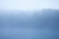Scenic image of the Chilko River with fog. British Columbia, Canada.