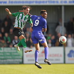 TELFORD COPYRIGHT MIKE SHERIDAN Anthony Callaghan of Blyth and Marcus Dinanga of Telford during the National League North fixture between Blyth Spartans and AFC Telford United at Croft Park on Saturday, September 28, 2019<br /> <br /> Picture credit: Mike Sheridan<br /> <br /> MS201920-023