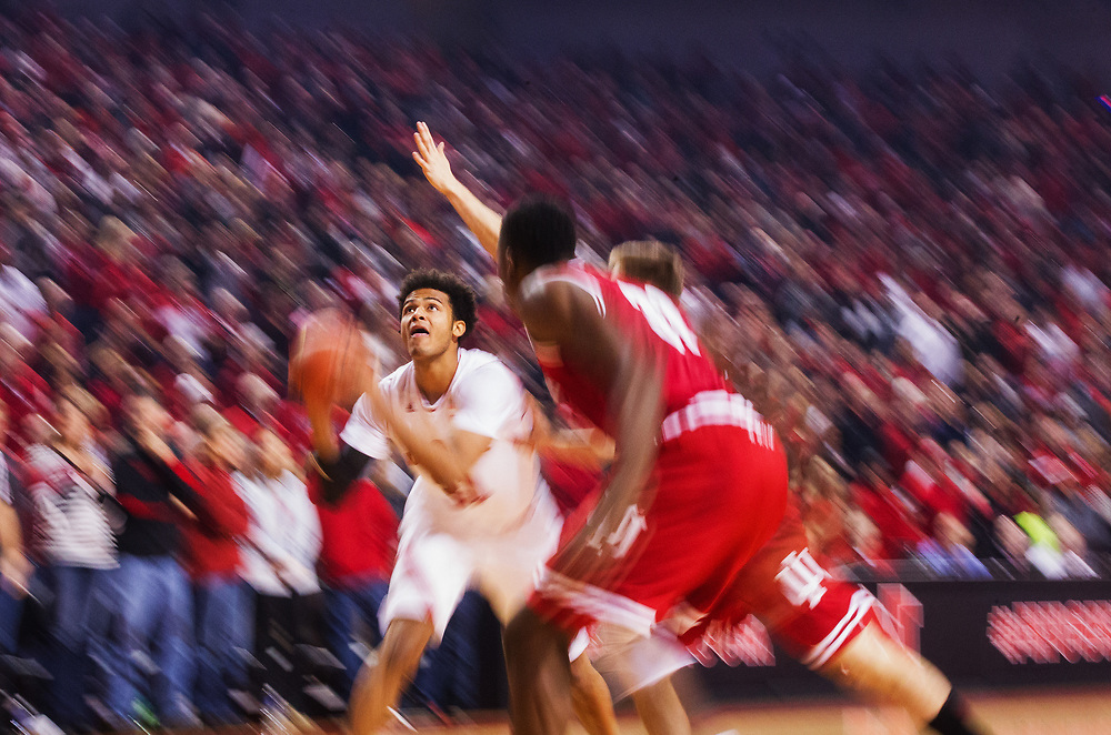 Shavon Shields #31 of the Nebraska Cornhuskers drives to the basket during Nebraska's 79-69 loss to Indiana at Pinnacle Bank Arena in Lincoln, Neb., on Jan. 2, 2016. Photo by Aaron Babcock, Hail Varsity