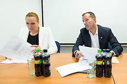 Petra Majdic, Enzo Smrekar during meeting of Executive Committee of Ski Association of Slovenia (SZS) on September 22, 2015 in SZS, Ljubljana, Slovenia. Photo by Vid Ponikvar / Sportida