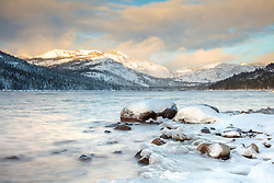 """Donner Lake Morning 22"" - Photograph of Donner Lake shot in the morning, right after a snow storm."