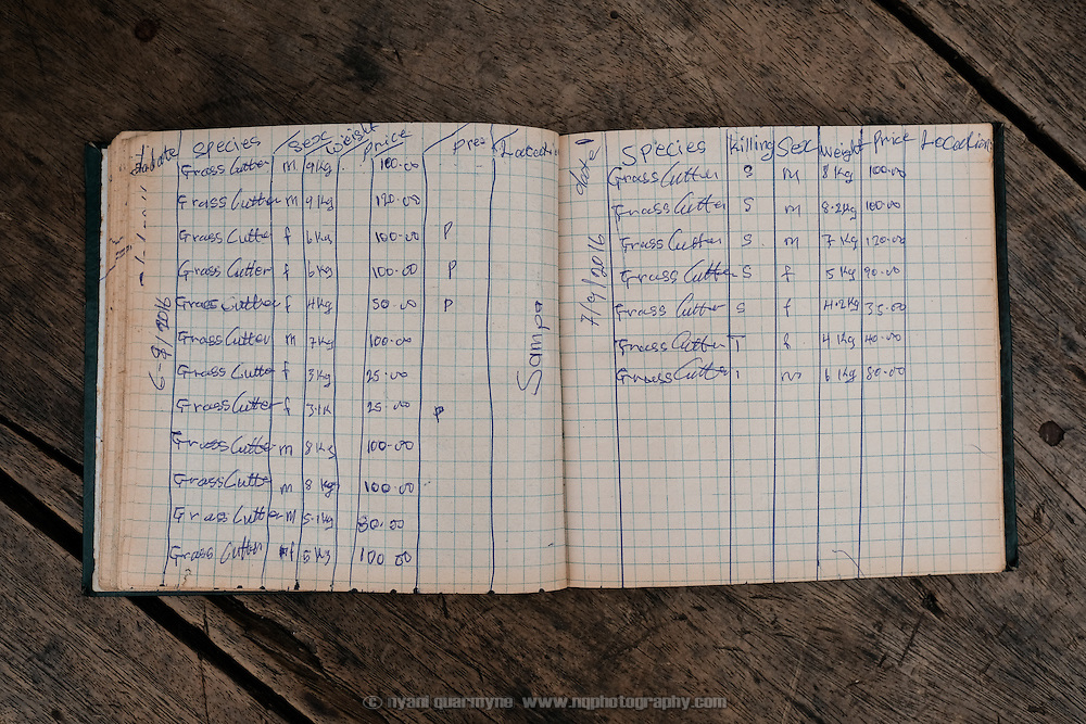 """A Forestry Commission inspector's logbook at Atwemonom, the main bushmeat market in Kumasi, Ghana on 7 September 2016. It reflects only deliveries of grasscutters (greater cane rats), which were the only legal quarry during the hunting ban that was in place between 1 August and 1 December 2016. Records of deliveries of animals killed in contravention of the ban are conspicuously absent, even though the inspector witnessed their delivery. False entries for grasscutters were recorded for these instead. Some illegal kills were recorded on a separate scrap of paper. The cover of the logbook states, """"This book contains scientific records""""."""