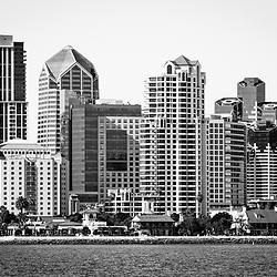 San Diego skyline black and white picture with downtown city buildings along the San Diego Bay waterfront in Southern California.