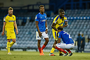 Portsmouth Defender, Anton Walkes (2) at the final whistle after scoring an own goal to make it 1-2 during the Carabao Cup match between Portsmouth and AFC Wimbledon at Fratton Park, Portsmouth, England on 14 August 2018.