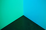 Neon green meets neon blue in a corner of the Denver Art Museum.