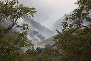 Hidden fires move slowly down a canyon as smoke settles in the cool, evening air at the Basin Complex Fire, near Carmel Valley, California.
