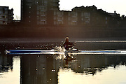 © Licensed to London News Pictures. 07/04/2013. Hammersmith, UK Rowers in the early morning sunshine on the River Thames in Hammersmith, West London, this morning 7th April. Photo credit : Stephen Simpson/LNP