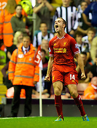 27.08.2013, Anfield, Liverpool, ENG, League Cup, FC Liverpool vs Notts County FC, 2. Runde, im Bild Liverpool's Jordan Henderson celebrates scoring his side's fourth goal against Notts County during the English League Cup 2nd round match between Liverpool FC and Notts County FC, at Anfield, Liverpool, Great Britain on 2013/08/27. EXPA Pictures © 2013, PhotoCredit: EXPA/ Propagandaphoto/ David Rawcliffe<br /> <br /> ***** ATTENTION - OUT OF ENG, GBR, UK *****