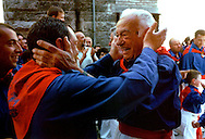 Gubbio 15 MAY 2006..Festival of the Ceri..The parade the ceraioli of St George ....http://www.ceri.it/ceri_eng/index.htm..