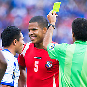 Officials present the yellow to Panama Defender R. Torres #5 during the concacaf gold cup quarterfinals Sunday, June 19, 2011, at RFK Stadium in Washington DC.