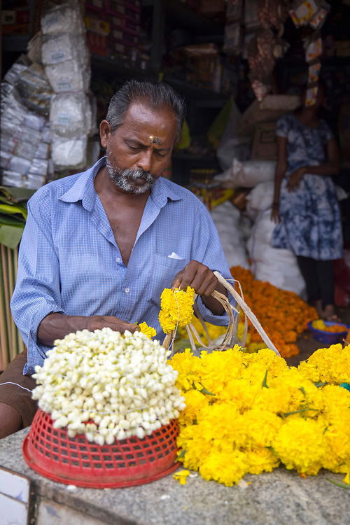 KOCHI, INDIA - 10th September 2019 - Flower sellers sell different varieties of flowers for people to make pookalams during Onam celebrations in Kochi. Pookalam or Rangoli is one of the most popular traditional art forms in India. It is a kind of decorative motif, usually a floor art using various forms of colours from flowers and other colourful natural objects like spices and grains to create a decorative foral carpet. It is an integral part of Onam festival celebrations in Kerala. Kochi (Cochin), Kerala, Southern India.