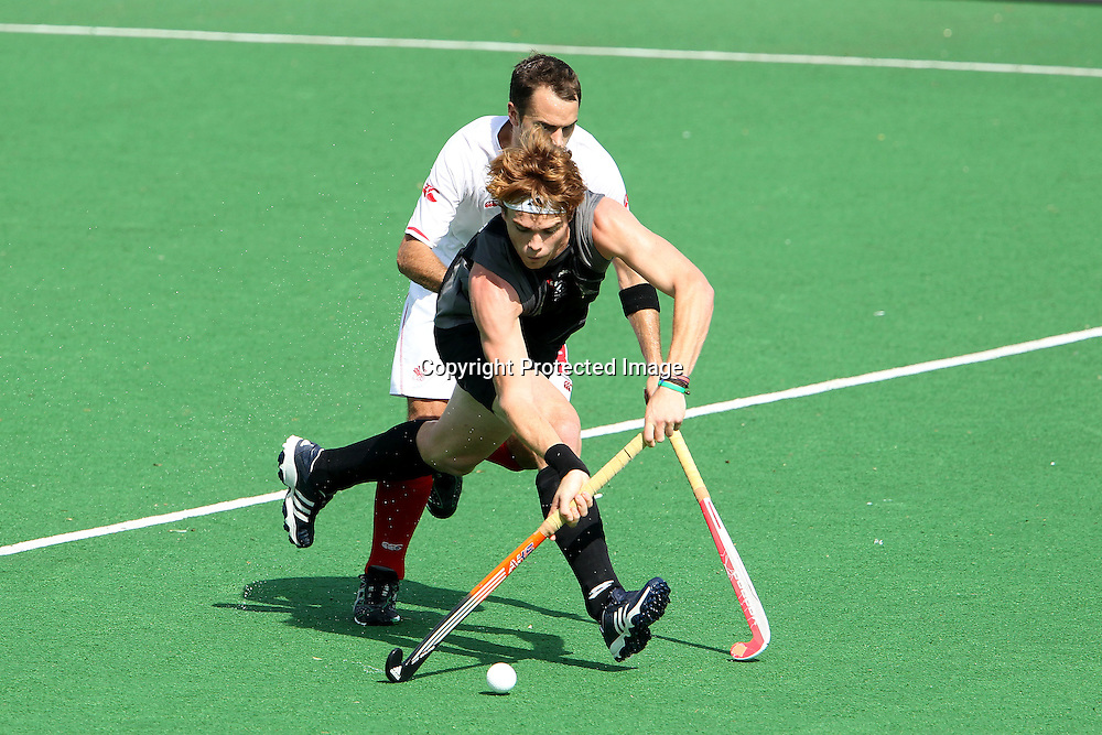 Andrew Hayward of New Zealand during the hockey match between New Zealand and Canada during the XiX Commonwealth Games  held at the MDC Stadium in New Delhi, India on the  10 October 2010<br /> <br /> Photo by:  Ron Gaunt/photosport.co.nz