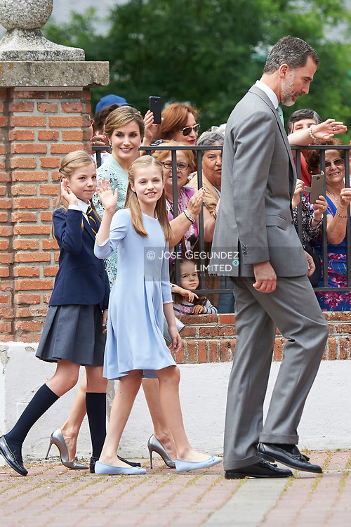 Queen Letizia of Spain, Princess Sofia, Crown Princess Leonor leave Asuncion de Nuestra Senora Church after the First Communion of Princess Sofia on May 17, 2017 in Aravaca near of Madrid.