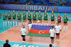 Azerbaijan team listen to his national anthem