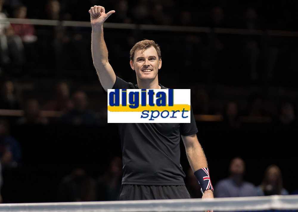 Tennis - 2017 Nitto ATP Finals at The O2 - Day Six<br /> <br /> Mens Doubles: Group Woodbridge/Woodforde: Lukasz Kubot (Poland) & Marcelo Melo (Brazil) Vs Jamie Murray (Great Britain) & Bruno Soares (Brazil) <br /> <br /> Jamie Murray (Great Britain) takes the applause of the crowd at the O2 Arena<br /> <br /> COLORSPORT/DANIEL BEARHAM