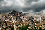 The Seven Brothers mountain peak Photographed at the Schlick 2000 ski centre, Stubai, Tyrol, Austria in September