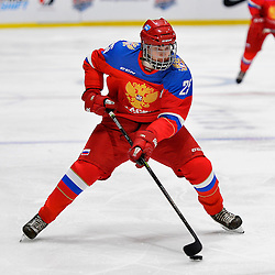 WHITBY, - Dec 14, 2015 -  Game #4 - Russia vs. Canada East at the 2015 World Junior A Challenge at the Iroquois Park Recreation Complex, ON. Mikhail Meshcheryakov #25 of Team Russia skates with the puck during the first period.<br /> (Photo: Shawn Muir / OJHL Images)