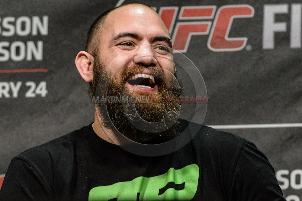 """STOCKHOLM, SWEDEN, JANUARY 23, 2015: Travis Browne is pictured during a fan question and answer session ahead of """"UFC on Fox 14: Gustafsson vs. Johnson"""" inside Hovet Arena in Stockholm, Sweden"""
