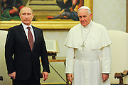 Francis meets in a private hearing, in the Vatican, the president of Russia Vladimir Putin.