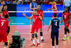 06.09.2014, Jahrhunderthalle, Breslau, POL, Venezuela vs Serbien, Gruppe A, im Bild Serbia, Jhoser Contreras (VEN), Hector Mata (VEN), Jose Carrasco (VEN) // during the FIVB Volleyball Men's World Championships Pool A Match beween Uenezuela and Serbia at the Jahrhunderthalle in Breslau, Poland on 2014/09/06. EXPA Pictures © 2014, PhotoCredit: EXPA/ Newspix/ Lukasz Skwiot<br /> <br /> *****ATTENTION - for AUT, SLO, CRO, SRB, BIH, MAZ, TUR, SUI, SWE only*****